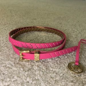 Michael Kors - Thin Pink perforated belt w/ charm